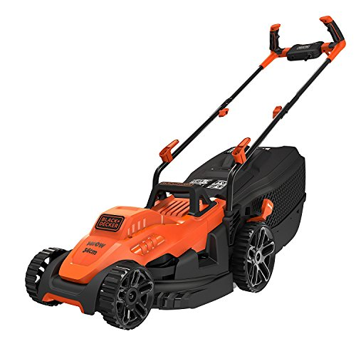 BLACK+DECKER BEMW461BH-QS Tondeuse à Gazon Filaire 6 Hauteurs, 1400 W, Orange, 34 cm