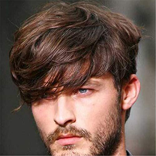 Brasilianische Männer Kostüm - Braune Perücke Kurzes geschichtetes lockiges Haar mit Side Bangs Anime Party Cosplay Kostüm Toupet Haar für junge Männer