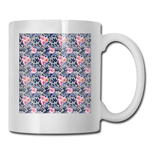 Jolly2T Funny Ceramic Novelty Coffee Mug 11oz,Victorian Theme Pink Retro Design Roses Urban Fashion Nature Feminine,Unisex Who Tea Mugs Coffee Cups,Suitable for Office and Home