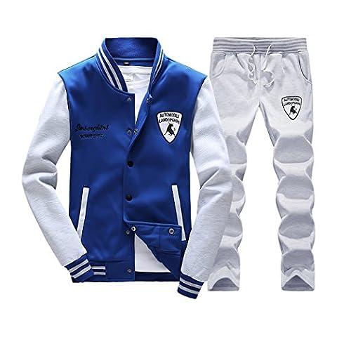 WALK-LEADER Men's Slim Lightweight Jogging Sweat Suits Casual Tracksuits Jacket + Pants Skyblue l