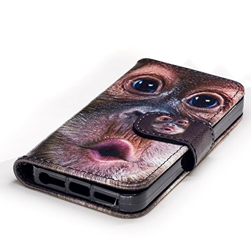 Custodia iPhone 5S cover iPhone 5 case iPhone SE,Ukayfe Stitching Colore Flip Case Cover per iPhone 5S,iPhone 5 iPhone 5S iPhone SE Lussuosa Astuccio Custodia Cover [PU Leather] [Shock-Absorption] Pro Orangutan 2#