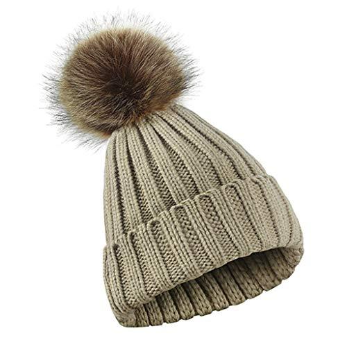 Cuigu Estriado para Sombrero de Punto Gorro de Lana Solapa Sombrero Grueso  con Bola de pompón Pastel Desmontable fee4b91f248