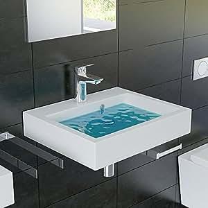 eckiges mineralguss waschbecken mit berlauf 50 cm breite f r wandmontage und als aufsatzbecken. Black Bedroom Furniture Sets. Home Design Ideas