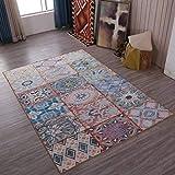 TWGDH Mittelmeer-Stil Rechteck Teppich Wohnzimmer Modernen Nationalen Stil Klassischen Persischen Weichen Schlafzimmer Große Fläche Teppich,#3,140×200Cm