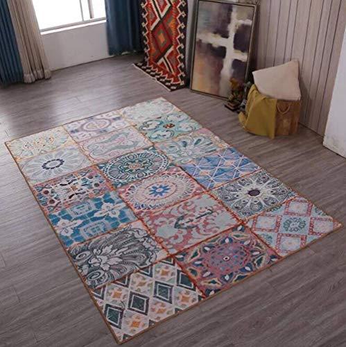 TWGDH Mittelmeer-Stil Rechteck Teppich Wohnzimmer Modernen Nationalen Stil Klassischen Persischen Weichen Schlafzimmer Große Fläche Teppich,#3,120×160Cm