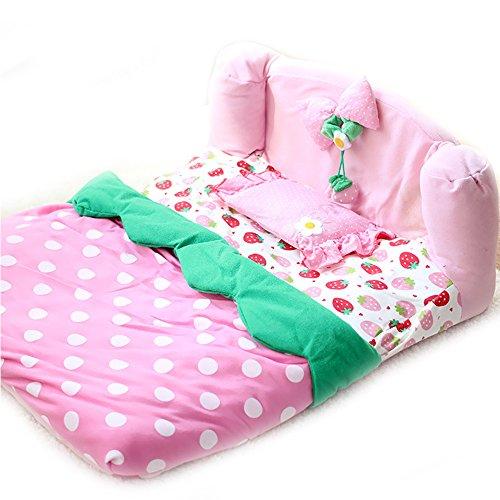 Cute STRAWBERRY Luxus Hundebett Haus mit Pillow Pet Cat Dog Princess Sofa Bett Käfig Süßer kleiner Hund Puppy Innen Haus Matte Kissen Matratze