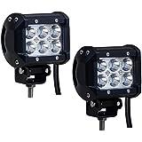 2PCS Barras LED 18W Faros Led Empotrables Potente Jeep todo Terreno 4x4 Auto Camioneta Contra Agua, Golpes y Temperaturas Extremas