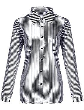 Bonboho - Camisa de manga larga para mujer, diseño informal a rayas, con botones y cuello en V, tallas de S a...