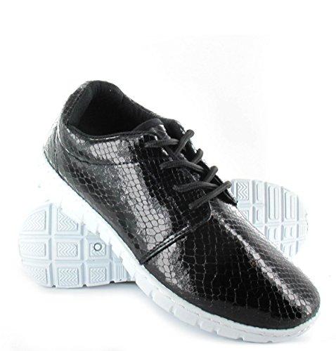 Mesdames Femmes Baskets Course à Pied Fitness Gym Sport Peau de serpent brillant Chaussures Taille 3–8 Noir - noir