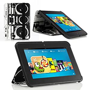 Poetic CoverMate case for Kindle Fire HD 7 OLD SCHOOL (Automatically Wakes and Puts Kindle Fire HD 7 Tablet to Sleep)(Intergrated HandStrap)(Has Open Slot for Charger Port)(3 Year Manufacturer Warranty From Poetic)