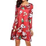 MRULIC Damen Blusenkleid Abendkleid Knielang Kleider Weihnachts Winterrock Festliches Kleid Mehrfarbig Verfügbar Schön Neujahr Herbst und Winter Kleid(B-Rot,EU-44/CN-3XL)