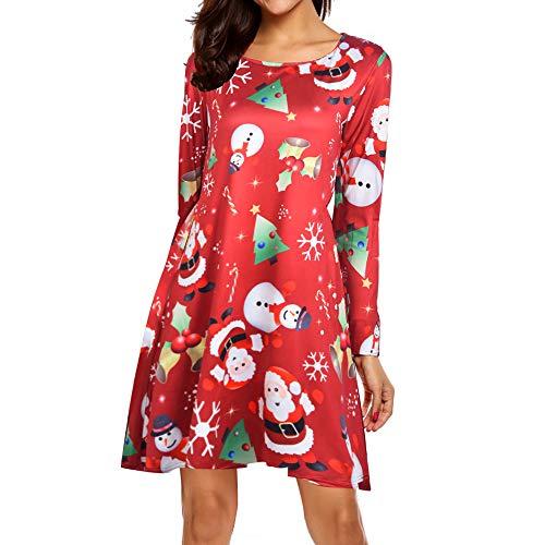 (SuperSU Damen Weihnachten Abendkleid Elegante Langarm Große Größen Partykleider Vintage Retro Festliche Rockabilly Kleid Cocktailkleid Swing Kleid Christmas Xmas Ballkleid)