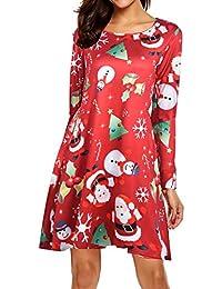 beautyjourney Vestido de Navidad de Las Mujeres, Vestidos de Fiesta de Manga Larga con Cuello Redondo para Mujer Vestido de Fiesta de Noche hasta la Rodilla Mini Vestido