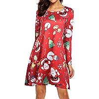 Geili Damen Weihnachten Kleider Elegante Langarm O-Ausschnitt Weihnachtsmann Schneeflocke Drucken A-Linie Minikleid... preisvergleich bei billige-tabletten.eu