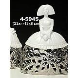 DonRegaloWeb - Figura menina de cerámica en colores blanco y plateado