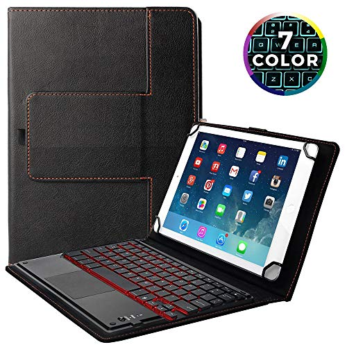 Universelle Tastaturhülle,Wireless Bluetooth Removable Keyboard, 7-farbige Hintergrundbeleuchtung, Touchpad, Premium PU Leather Stand Cover für Android, iOS, Windows 9 '' - 10.1 '' Tablets (Bluetooth-tastatur-galaxie-anmerkung)