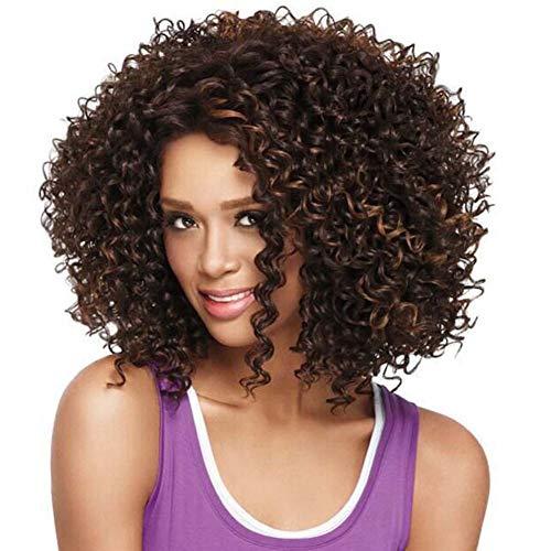 QCHNES Afro verworrene Perücke Kurze lockige Perücken schwarz und braun Perücken für Frauen 100% hitzebeständige Faser synthetische Perücken