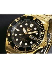 Seiko snzf22j Sports-1-5-Reloj automático hombre chapado en oro-Gafas uni-direccional ventanilla-Fecha día, vidrio Hardlex Crystal-Estanquidad 100 m de profundidad-Pulsera bañada en oro, con botón pulsador