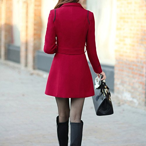 LAEMILIA Manteaux Femme Hiver Chaud Slim Gilet Bouton Épais Blouson Casual Parkas Trench Coat Veste Épaise avec Ceinture
