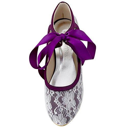 ElegantPark HC1521 Escarpins Femme Dentelle Ruban Mary Janes Bout Rond Chaussures de mariee mariage Bal Pourpre