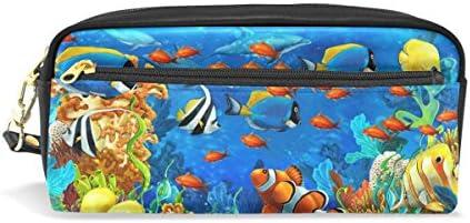 Coosun sous l'eau Poissons en mer Ocen Tropical Portable Cuir PU Trousse d'école Pen Sacs papeterie Pouch Case Grande contenance Sac de maquillage B075NN3WJ8 | En Ligne