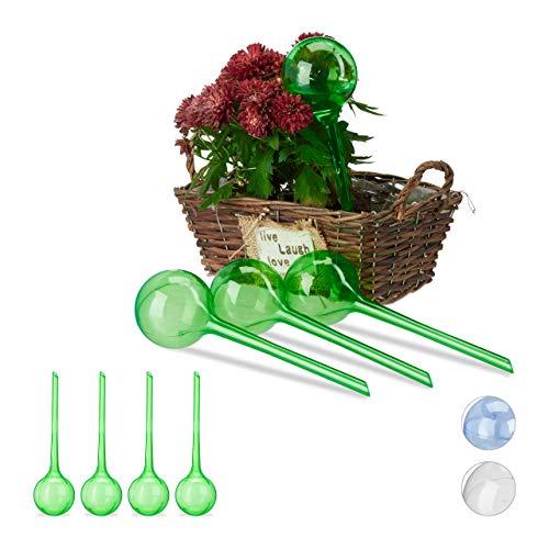 Relaxdays Bewässerungskugeln, 8er Set, Dosierte Bewässerung, 2 Wochen, Topfpflanzen, Kunststoff, grün