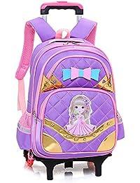 Preisvergleich für QCC& Aluminiumlegierung Sicherheit Reflektierend Rollen Rucksäcke Mädchen Trolley Schule Rucksack Taschen Entfernbar...