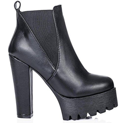 SPYLOVEBUY JOLT Chelsea Boots à Talons Larges Plateformes Noir - Similicuir
