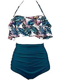 SHENGYI Traje De Baño Baño De Playa Traje De Baño Mujeres Tankinis Traje De Baño Bikini De Volantes De Cintura Alta Set Halter