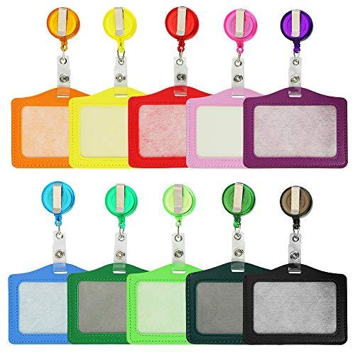 Soporte para tarjetas identificativas de identificación, 10 unidades, de piel sintética, con carrete retráctil (Horizontal)