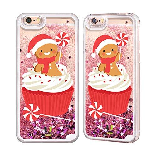 Head Case Designs Nikolaus Fröhliche Weihnachts Cartoons Hot Pink Handyhülle mit flussigem Glitter für Apple iPhone 6 / 6s Pfefferminz Cupcake