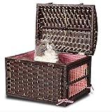 Bonwg Haustier-Gesponnener Korbflechtweidenkatzen-Haustierkäfigwelpen-Katze Heraus Tasche,2