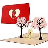 Diese-Klappkarten L10 - Biglietto di auguri o di invito matrimonio con motivo 3D a comparsa centrale, Rosso