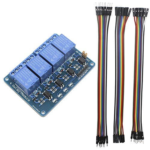 KeeYees 4 Canales DC 5 V Módulo de Relé con Optoacoplador para Arduino Raspberry Pi PIC AVR DSP ARM + 3pcss 20CM 10Pin Macho Hembra Jumper Cables