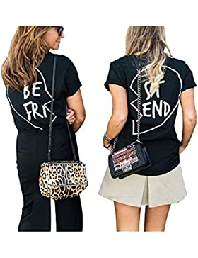 Germinate Best Friend T Shirt Donna Divertenti Estive Tumblr Stampa Nera Magliette Manica
