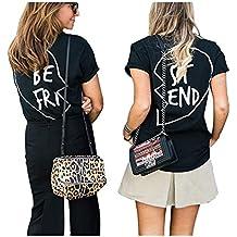 Best Friends Camisetas Mujer Mejor Amiga Tumblr Verano Camiseta Manga Corta (Blanco BE, M