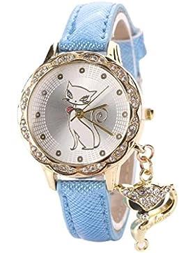 Loveso-Armbanduhr elegant Mode-Frauen-Mädchen-Luxus-Diamant-Katze-analoge Quarz-Leder-Band-Uhr-Armbanduhr_Blau