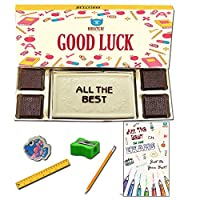 BOGATCHI Good Luck Chocolate Gift for Exams, White Chocolae Bar + 4pcs Dark Chocolate + Free All The Best Card + Exam Kit for Kids