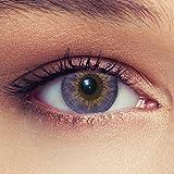 Lenti a contatto colorate viola naturale per gli occhi scuri senza diottrie + gratis caso di lenti Modello 'Dimension Purple'
