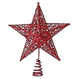 TOOGOO(R) Albero di Natale Topper Treetops Decorazione di Natale Ornamento Albero Topstar Decorazioni Festival lucido decorativo (15cm rosso stella a cinque punte)