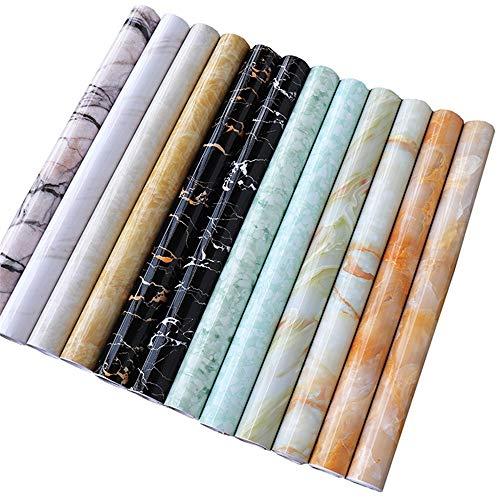 GJIAWI Marmor Self-Adhesive Kontakt Papier Weiß schälen und Stick-Vinylfilm Dekorieren Removable Aufsatz- Kabinett Marmor Tapete für Badezimmer,24x394inch