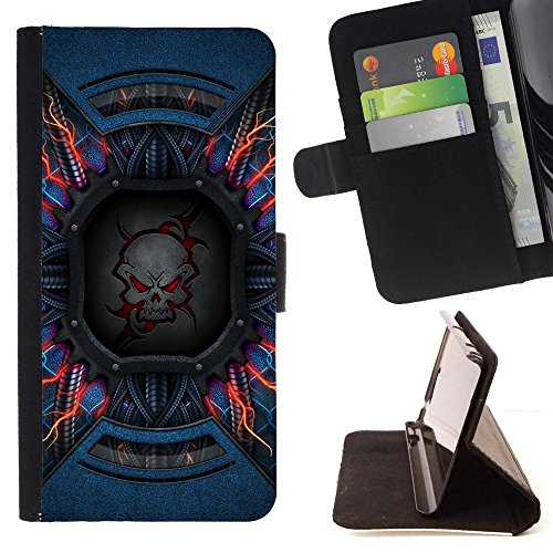 Momo Phone Case / Protettiva Custodia Flip Wallet in pelle - Death Doom Skull Electric Neon - Motorola Moto E ( 2nd Generation )