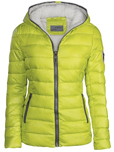 Damen Winter Jacke GEFÜTTERT KURZ STEPP DAUNEN Optik Kapuze Skijacke WARM New, Farbe:Neon...