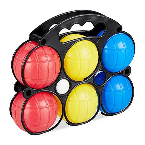 Relaxdays Boccia Spiel, 6 Petanque Kugeln in 3 Farben, Kunststoff, mit Zielkugel & Tragekorb, Boule Set für Kinder, bunt