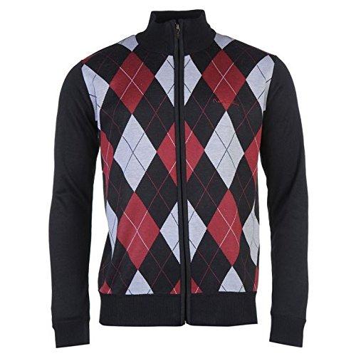 Pierre Cardin con zip Argyle cardigan da uomo navy/Borgogna jumper maglione top, Navy/Burgundy, S