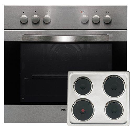 Amica EHE 12503 E Herd-Kochfeld-Kombination/A / 0.79 kWh / 69 L/Steam Clean Reinigungsfunktion durch Wasserdampf/moderne Knebel/edelstahl