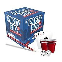 Ce kit party box est composé de 30 jeux de soirées. Il possède 2 dès, 1 bloc-note, 1 jeu de cartes classique, 10 shooters en plastique de 4cl et 4 crayons de papier. Vous pourrez jouer à chochoye, jeu du doigt, je nai jamais ou encore dans ma valise....