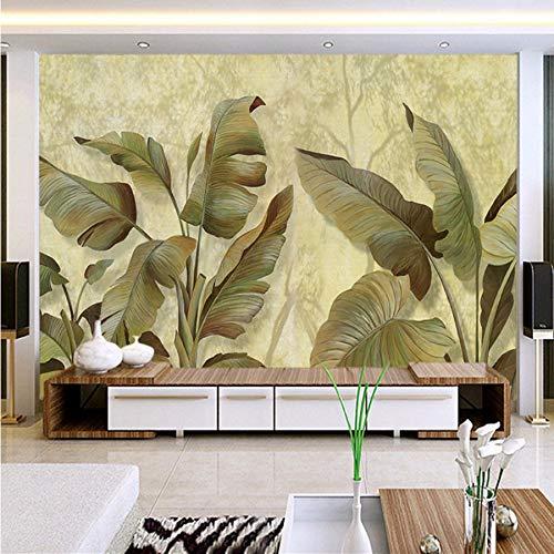 Kuamai Asie Du Sud-Est Feuille De Bananier Photo Papier Peint 3D Murale Murale Classique Salon Toile De Fond Mur Décoration Papier Peint 3D Sala-350X250cm