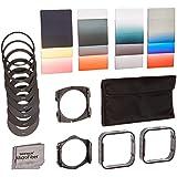 Neewer  Kit de filtros cuadrados para Cokin Serie P: Filtros ND completos y graduados, filtros de color graduados, analizadores de anillo, soporte, parasol, paño de limpieza