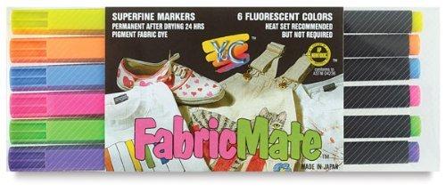 FabricMate Dye Markers Brush Tip Standard Barrel Set Fluorescent 6pc by Yc - Dye Barrel